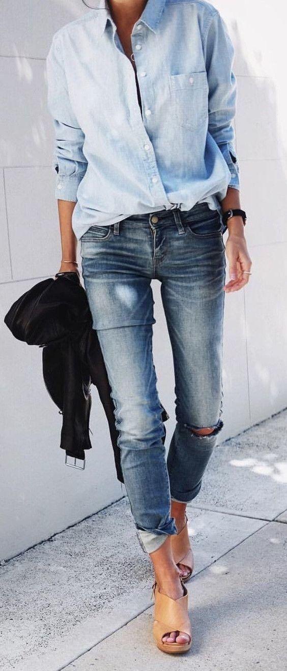Idée et inspiration look d'été tendance 2017 Image Description summer outfits Denim Shirt + Destroyed Skinny Jeans