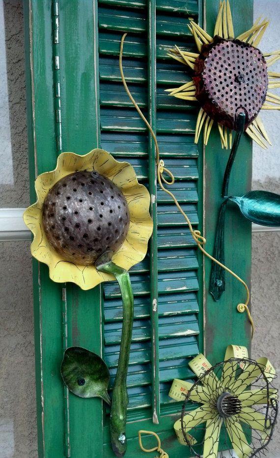 Salvaged Garden Sunflower Yard Art . Made with Vintage