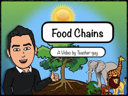 This is an informative video that explains food chains.  It discusses topics such as:1. Producers2. Consumers3. Herbivores4. Carnivores5. Omnivores6. Energy transfer7. PhotosynthesisThe video specifically compliments the following two units, which can also be purchased in my Tpt store:Habitats and CommunitiesBiodiversityThe pictures in this video are all in the public domain.The original purchaser of this video is granted permission to show for teaching purposes only.