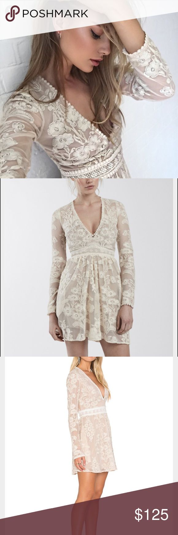 For Love and Lemons Violetta Mini Size XS Beautiful white and nude mini lace dress by For Love and Lemons. This dress has never been worn. Fully lined. Size XS. For Love And Lemons Dresses Mini