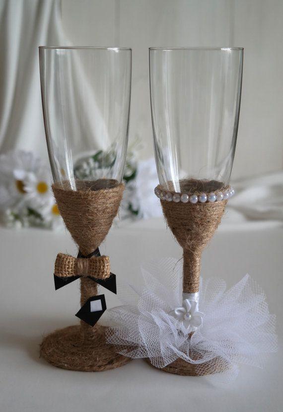 Bride and Groom Rustic Burlap Twine Wedding Champagne by sabihup