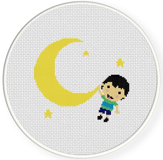FREE for March 8th 2015 Only - Boy in Moon Cross Stitch Pattern