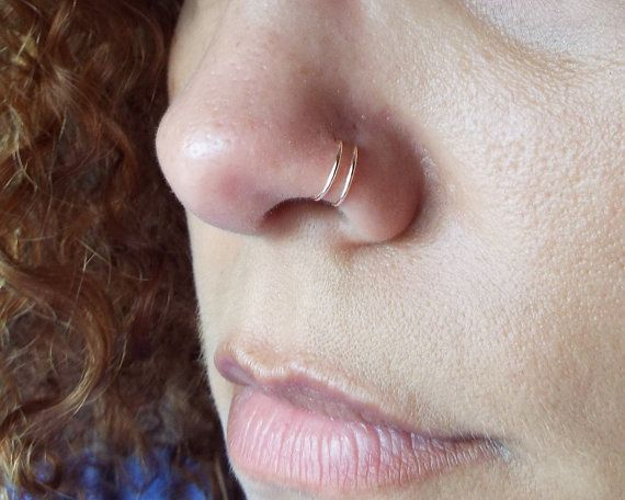 Tiny Rose Gold Double Nose Ring Lip Ring Fake Piercing by Junylie