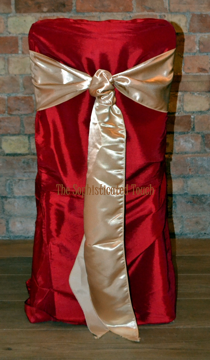 Red Chair Cover with Gold Satin Bow