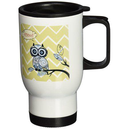 3dRose Hoot Im Cute Whimsical Owl with Chevron print, Travel Mug, 14oz, Stainless Steel