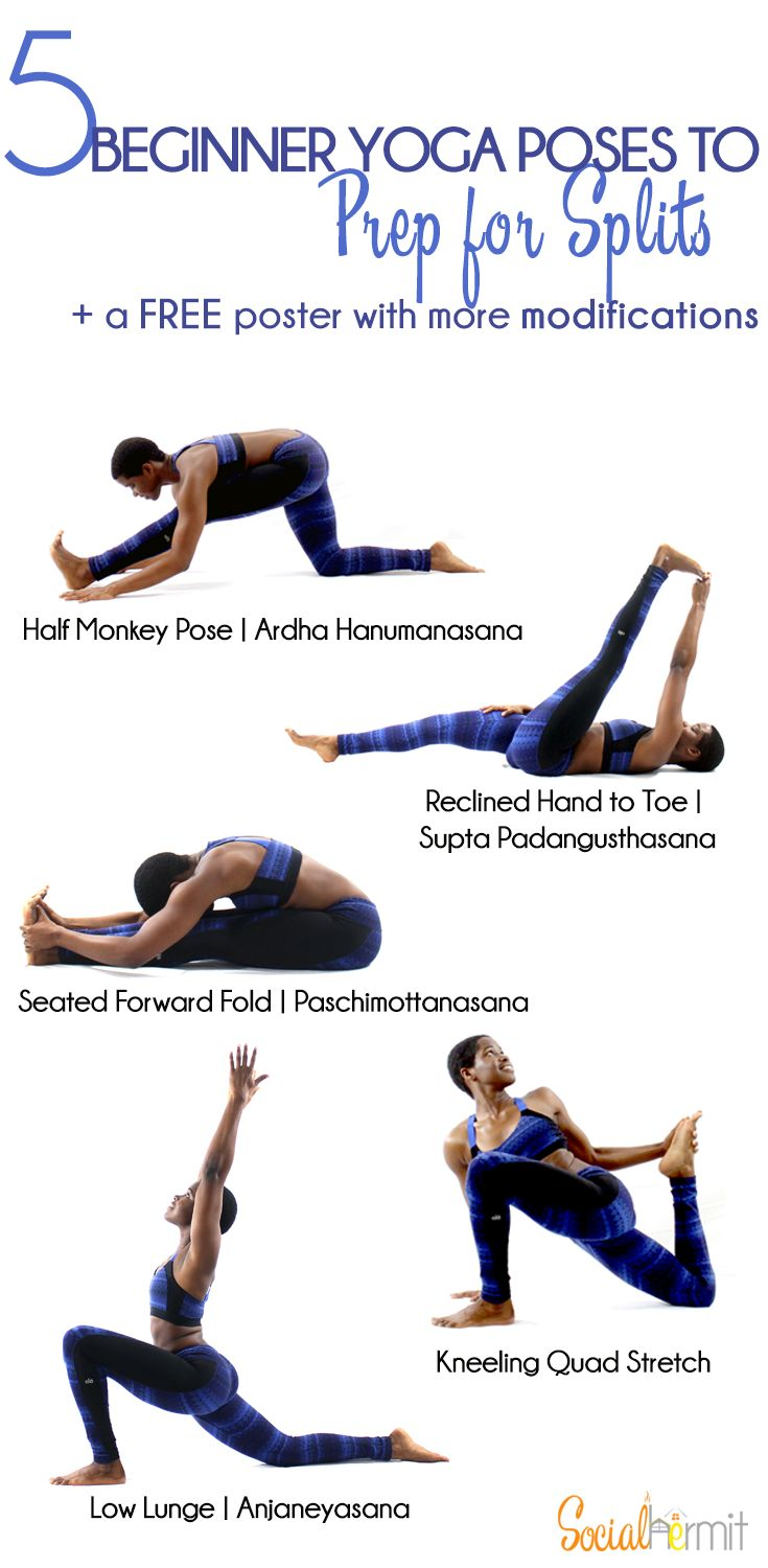 Yoga poses to prep for splits - Working on the various muscles that are involved in the split is key to getting comfortably into the pose. Even if you're not working towards the split, these poses are beneficial for opening up leg muscles that get neglected when we spend a majority of our time sitting down. So you may not be trying to get into hanumanasana, but these poses are still great for your body! Check out the warm up poses for splits and click through for a FREE modifications poster.