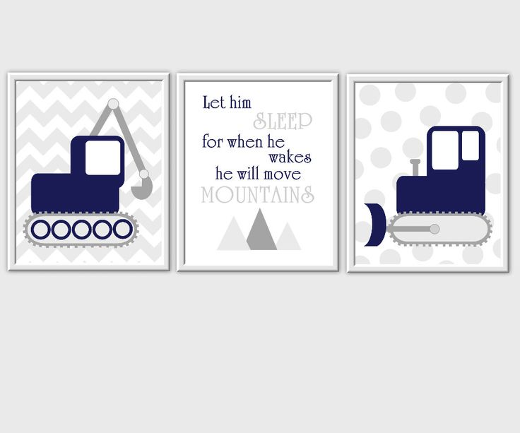 Let him Sleep For When He Wakes He Will Move Mountains Baby Boy Nursery Prints Blue Navy Yellow Gray Chevron Nursery Boy Decor 3 PRINT SET by dezignerheart on Etsy