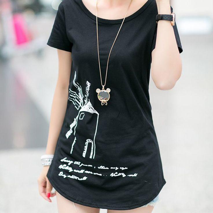Top Sale Cartoon animal print t shirt women tops tees short sleeve T-shirt letter printed summer loose plus size T shirts