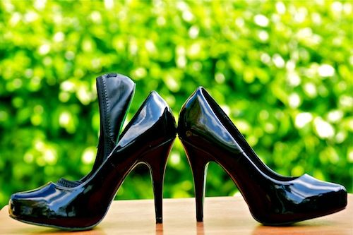 Ambi Platform Convertible Heels- Black Patent $99  Matching pump and flat shoe