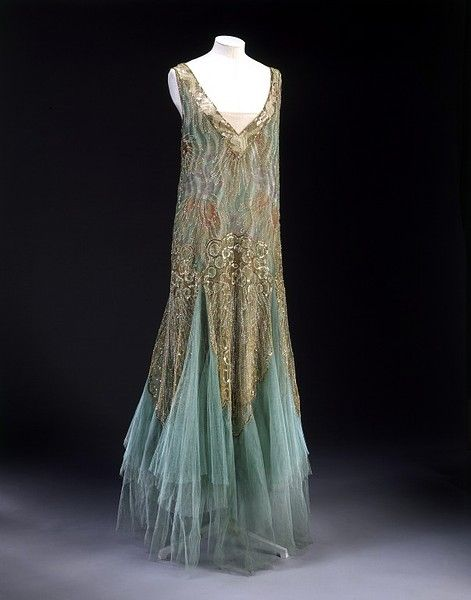 gown roughly 1920's. Love this turquoise and bronze color combination.