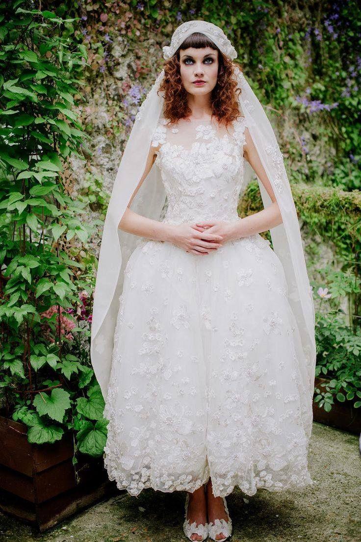 antique wedding dress uk%0A Joanne Fleming Design  u    Tamara u     ballerina length embellished tulle wedding  dress Headdress by Lomax  u     Skinner