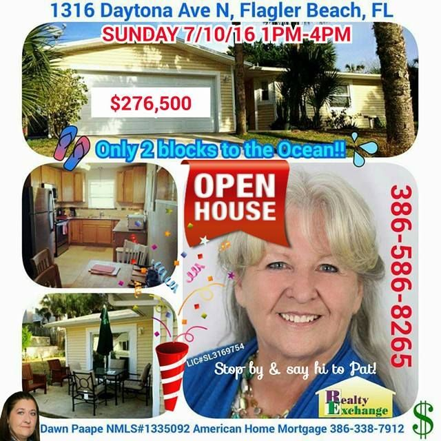 ‪#‎OPENHOUSE‬ SUNDAY 7/10/16 1PM-4PM at 1316 Daytona Ave N ‪#‎FlaglerBeach‬, Florida; ONLY $276,500! Stop by and say hello to Pat Barton Realtor, 386-586-8265, Realty Exchange LLC, for a showing of this fully renovated 2 bed 2 bath Beach Home. New Siding... New Windows... New Kitchen with Granite Countertops... New Stainless Steel Appliances... New Tile & Carpet Flooring... Transferable Termite Bond... all this and just 2 short blocks to the ocean!