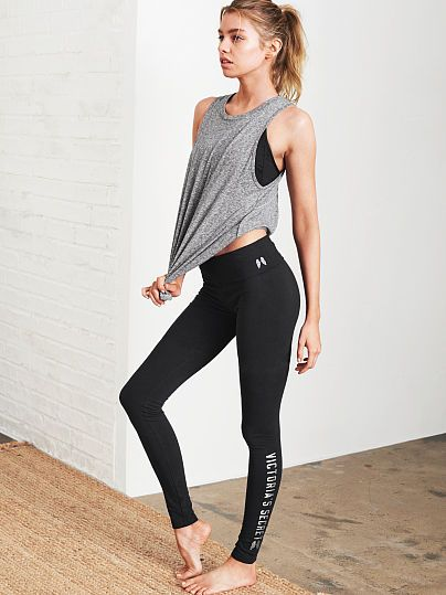 The Most-Loved Yoga Legging from Victoria Secret. Because who doesn't love to look fashionable during gym class? #justfabstyle #fidmfashionclub.