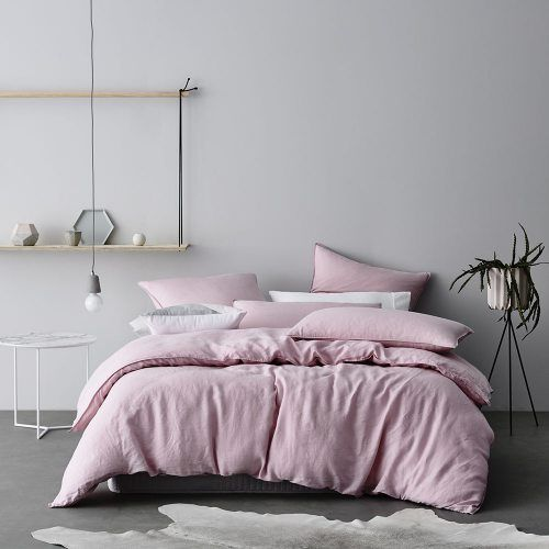 Home Republic Vintage Washed Linen Quilt Cover Luxe Pink, vintage linen, doona cover