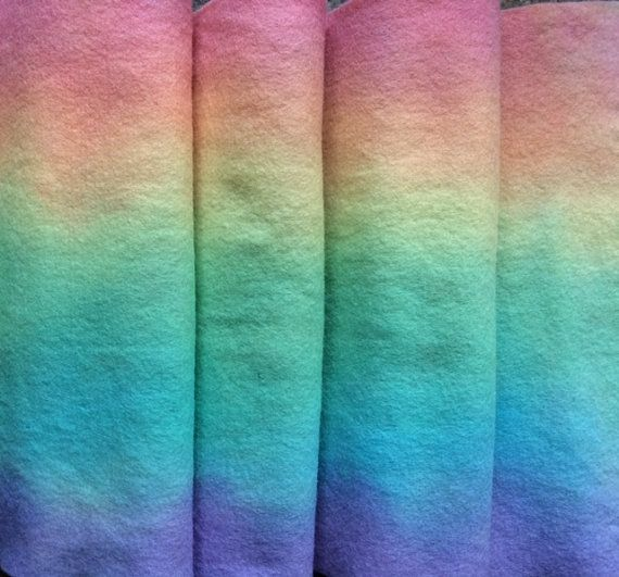 Hand-dyed PURE WOOL FELTRainbow Colours  Long by HeartFeltDolls