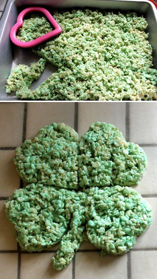 Shamrock Rice Krispies Treats using a heart cookie cutter.