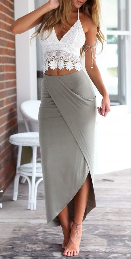 White Lace Cami Top + Gray Asymmetric Pencil Skirt Twinset