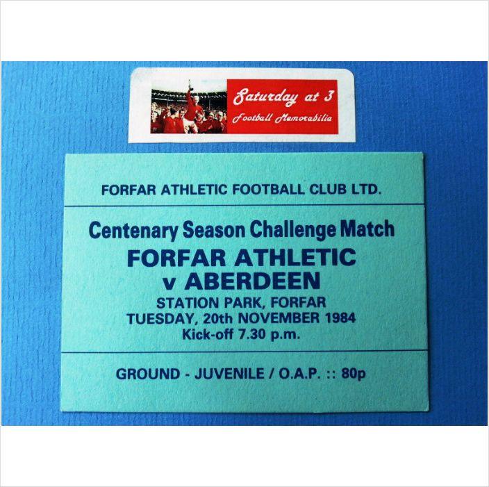 Forfar Athletic v Aberdeen Football Ticket Stub 20/11/1984 Scottish Challenge