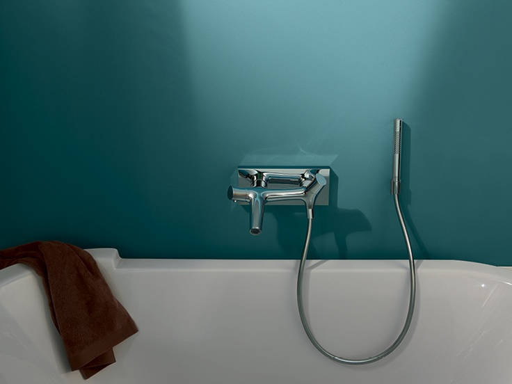 Axor Starck Organic: bath tub thermostat with hand shower.