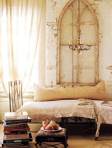 REPINNED FROM HOME BY: Idea, Shabby Chic, Headboards, Arches Window, Old Window, Antiques Window, Home Decor Bedrooms, Church Window, Window Frames