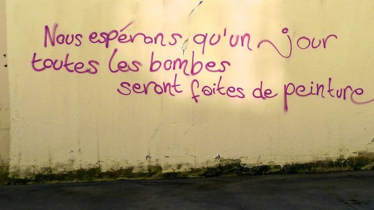 we hope that one day all the bombs will be made of paint