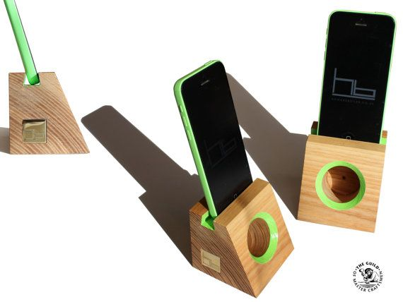 Acoustic speaker smart phone wooden phone dock by HBcotswold