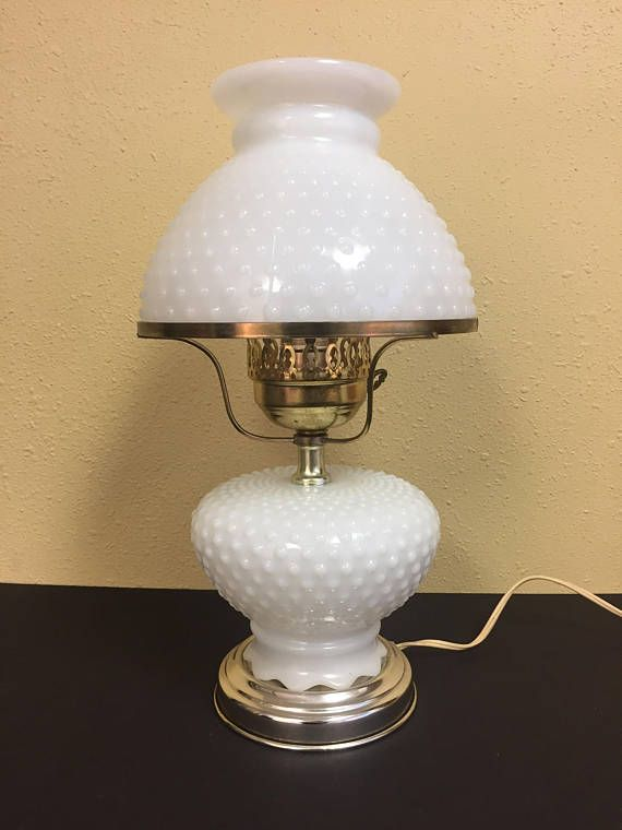 Vintage Hobnail Milk Glass Lamp Student Lamp With Hobnail Milk Glass Base And Shade 3 Way Switch Operates Base Nightlight And P Milk Glass Milk Glass Lamp Lamp Lamp with switch on base
