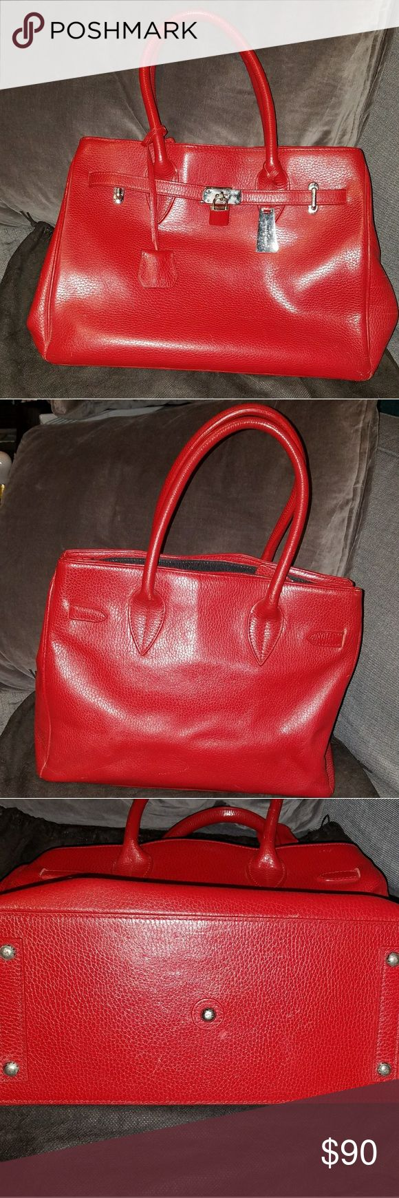 """Jasper Conran Red Leather """"Birkin Style"""" bag Red pebbled leather handbag. Purchased at Debenham's 15 years ago and gently used. Jasper Conran Bags Satchels"""