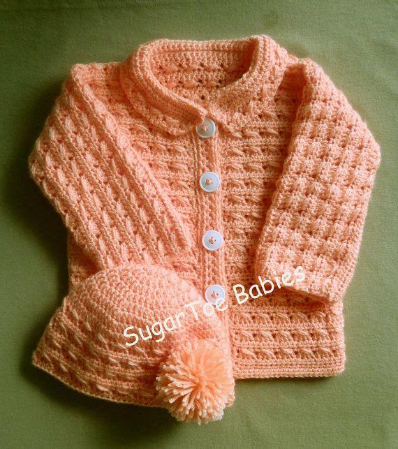 Niña o niño suéter chaqueta y sombrero PDF Crochet patrón 24 meses