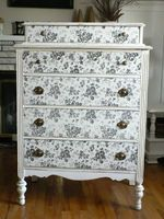 Contact paper to repurpose an old chest, then match to a faux headboard?