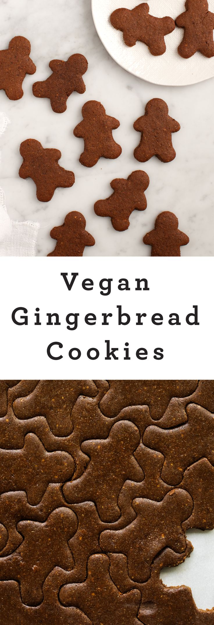 Vegan Gingerbread Cookies - Healthy spin on a Christmas holiday classic! Gingerbread men, with ginger, cinnamon and surprise - there's also cardomom and almond butter.