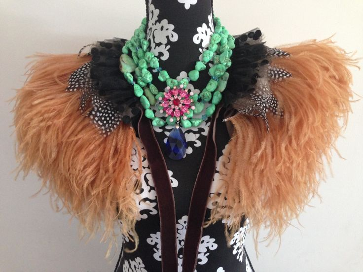 Brown ostrich feather cape, green howlite statement necklace, swarovski crystal pendant