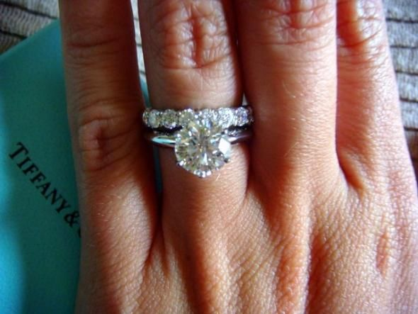 1 76ct Center Stone In Clic Tiffany Setting On Finger Size 3 75 With An Eternity Wedding Band Serious Contenders Bands
