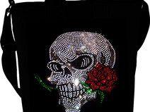 Handtasche Totenkopf Strass mit Rose Skull Tasche