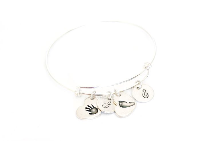 Two Heart Shaped Handprint and Initial Charms on an Adjustable Bangle