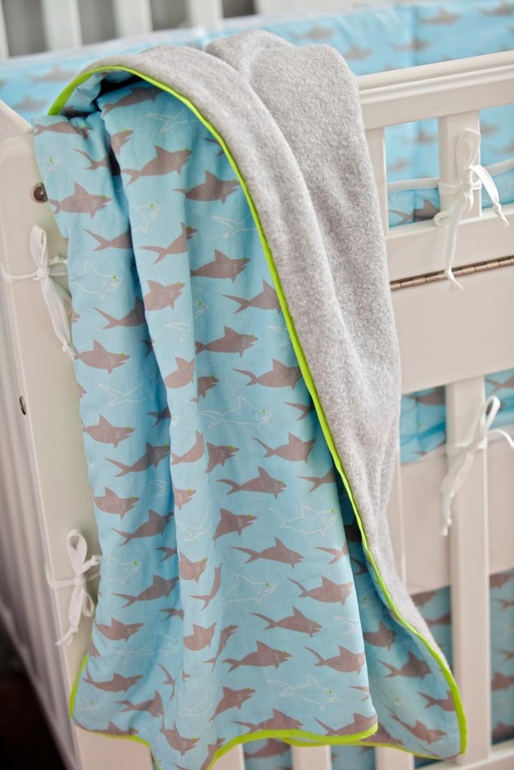 Custom baby bedding - Niko's Sharks  www.fishlipspaperdesigns.com