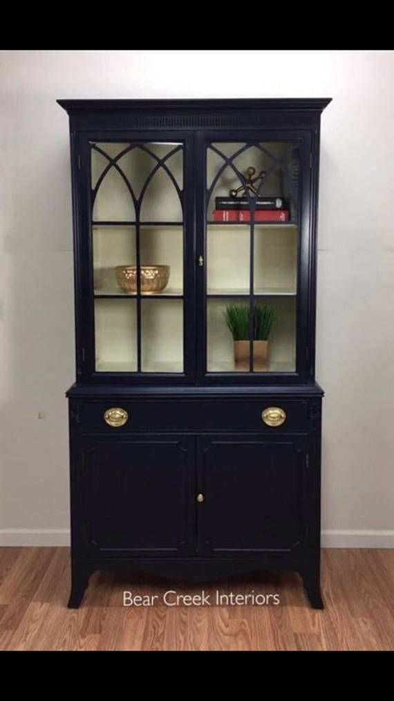 vintage china hutch navy blue milk paint storage cabinet display rh pinterest com