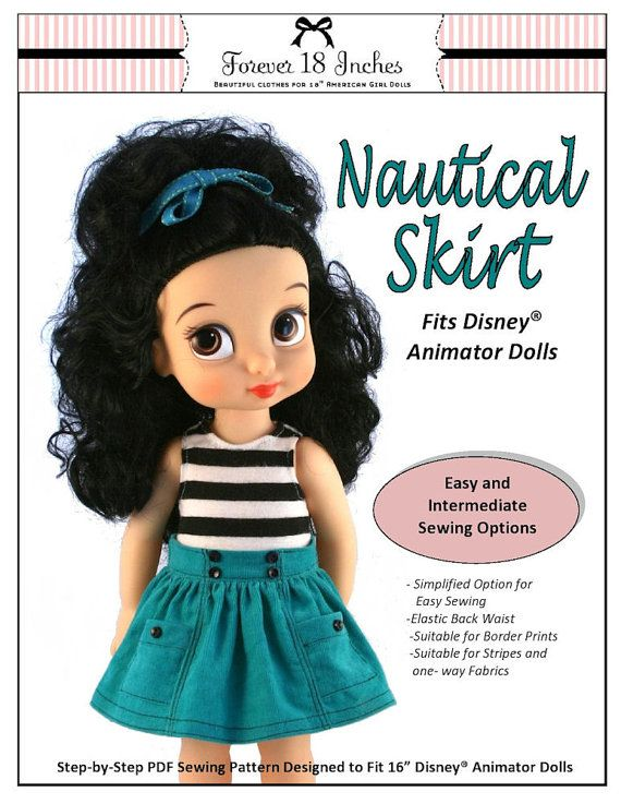 Pixie Faire Forever 18 Inches Nautical Skirt Doll Clothes Pattern for Disney Animator Dolls - PDF