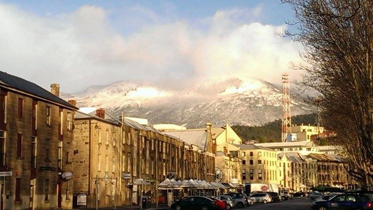 What a view from Salamanca Hobart. Mnt Wellington full of snow.