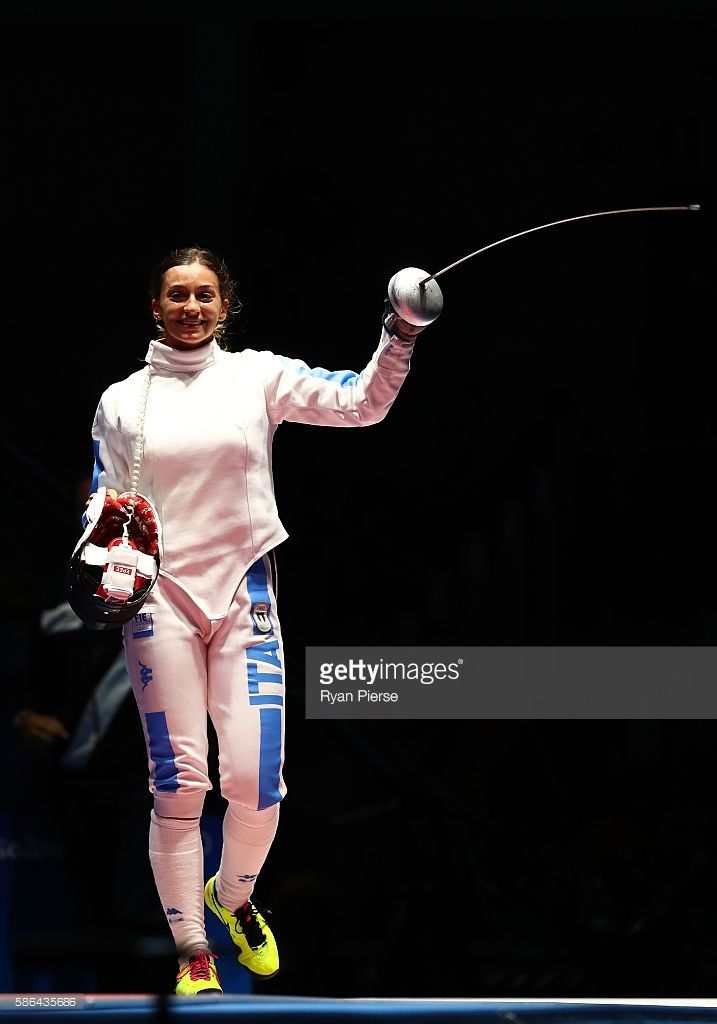 Rossella Fiamingo of Italy celebrates victory against Yiwen Sun of China in the Women's Individual Epee: semi-final on Day 1 of the Rio 2016 Olympic Games at Carioca Arena 3 on August 6, 2016 in Rio de Janeiro, Brazil.