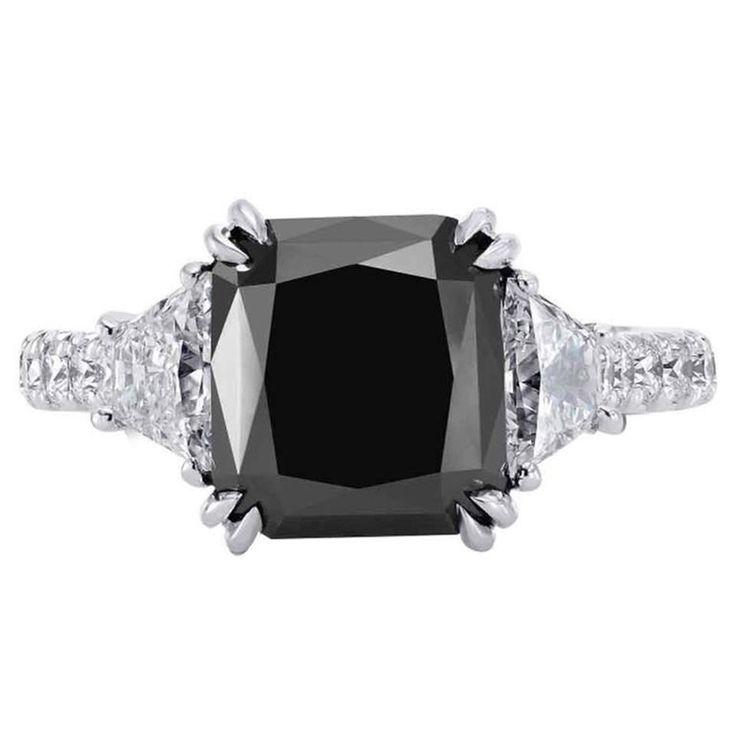 The black rock … 5.33 Carat Radiant Cut Fancy Black Diamond Engagment Ring. Photo 1stdibs