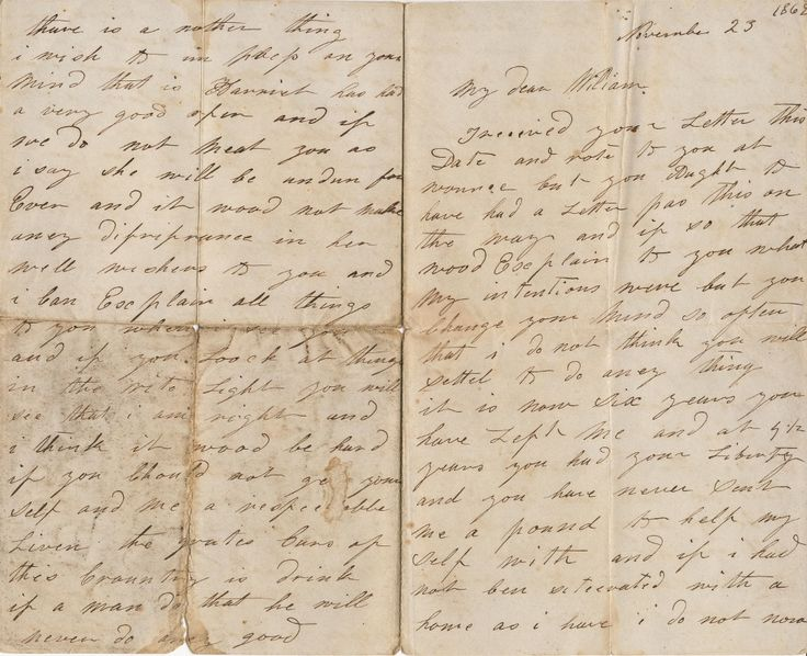 Letter written by H.N. in November 1862 to her husband who had been transported six years previously to Western Australia.