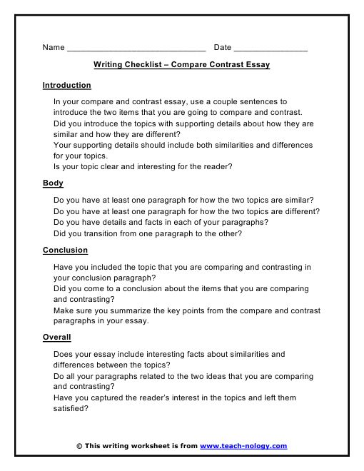 100 Best Compare and Contrast Essay Topics