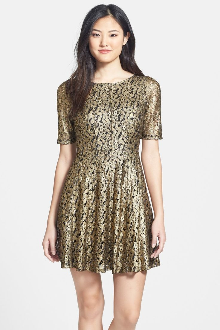 Felicity and Coco | Metallic Lace Fit & Flare Dress | Nordstrom Rack