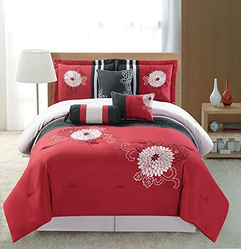 7 Piece Burgundy Red Black Silver Grey Designer Embroidered BeddingLuxury Comforter set Bedinabag KING Size * You can find out more details at the link of the image.