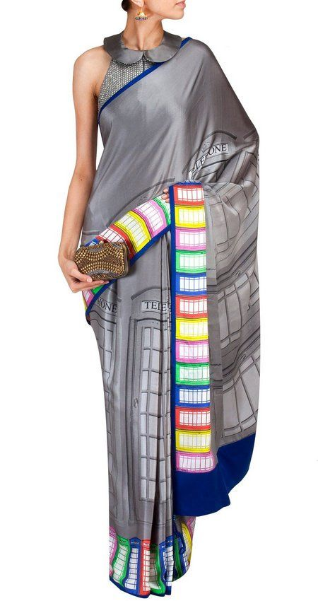 What kind of sari should a Dr. Who fan wear? A Tardis sari from Satya Paul, obvs.