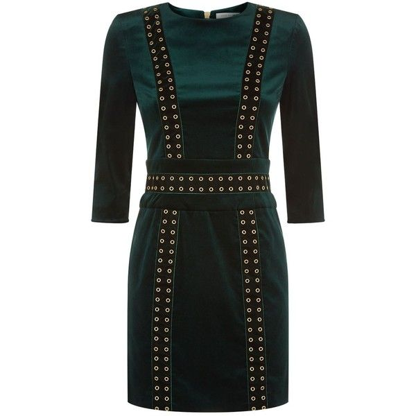 Pierre Balmain Velvet Eyelet Mini Dress ($1,080) ❤ liked on Polyvore featuring dresses, holiday party dresses, metallic party dress, mini dress, party dresses and short velvet dress