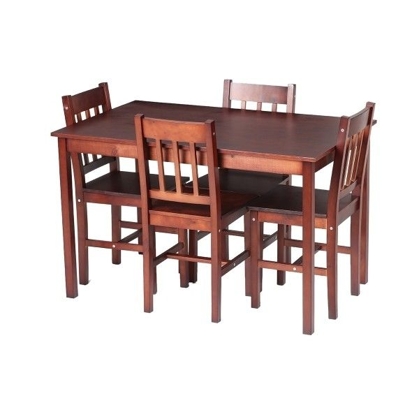 brown iKayaa Modern 5PCS Wood Kitchen Dining Table Chairs Set -... ($63) ❤ liked on Polyvore featuring home, furniture, modern dining table set, wood furniture, modern wooden furniture, modern table and chairs and wooden dining set