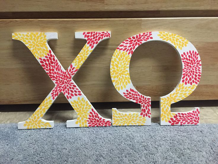 #Chiomega Chi Omega painted wooden letters by Alexandra Nichols