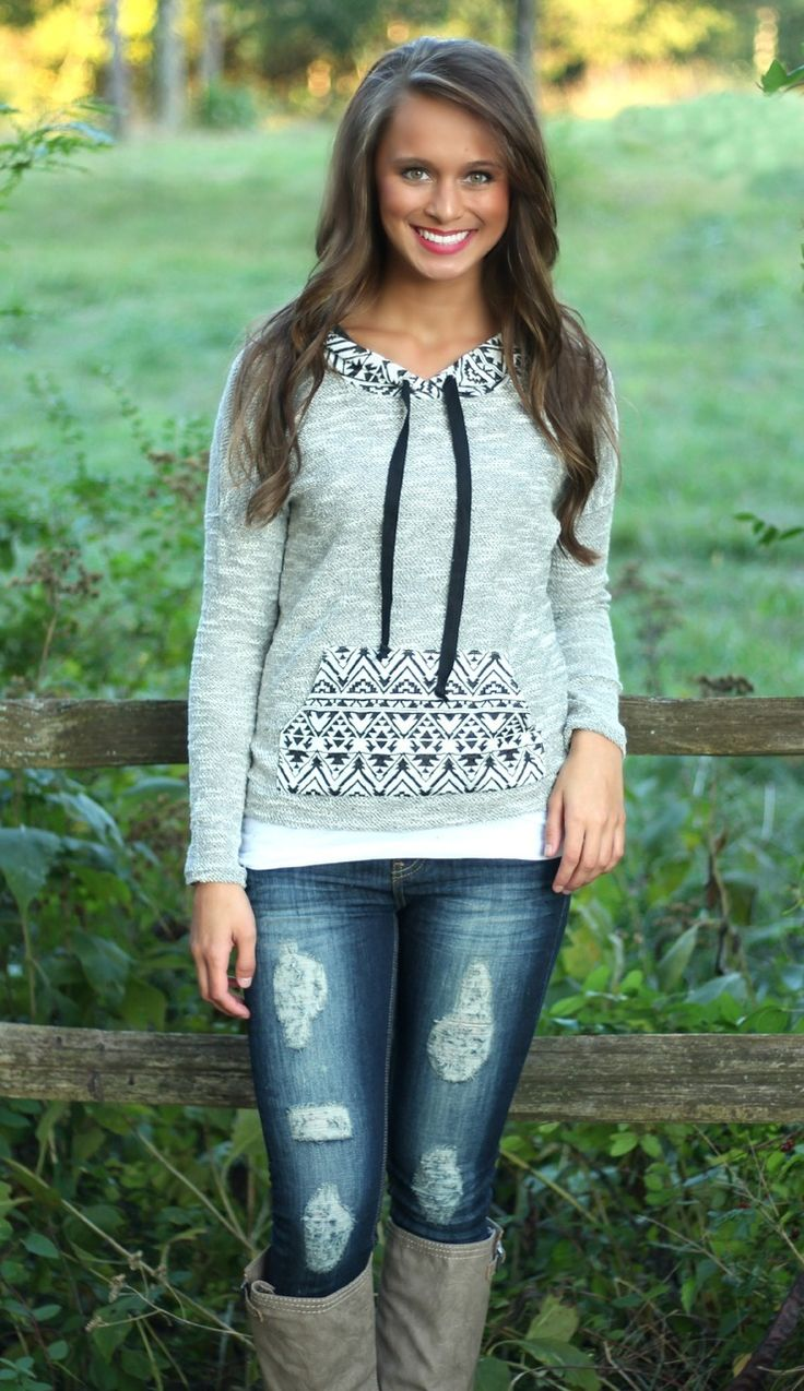 The Pink Lily Boutique - Grey Aztec Print Hoodie, $35.00 (http://www.thepinklilyboutique.com/grey-aztec-print-hoodie/)